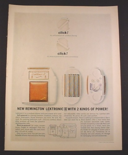 Magazine Ad for Remington Lektronic II Cordless Shaver, 2 Kinds of Power, 1962, 10 3/8 by 13 5/8