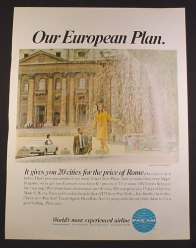 Magazine Ad for Pan American Pan Am Airline, European Plan, Rome, 1964, 10 3/8 by 13 5/8
