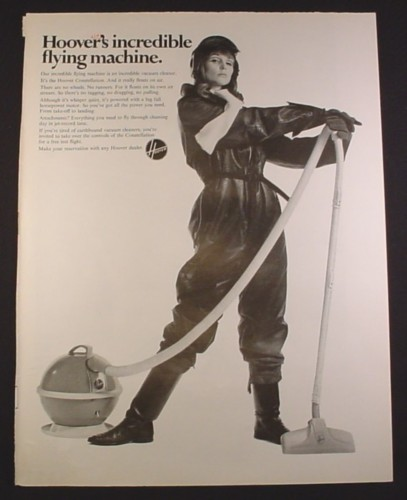 Magazine Ad for Hoover Constellation Vacuum Cleaner, Woman in Flight Suit, 1964