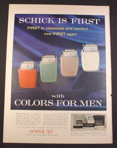 Magazine Ad for Schick 25 Electric Razor, In Colors For Men, 1956, 10 1/2 by 13 7/8