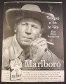 Magazine Ad for Marlboro Cigarettes, Flip Top Box, Cowboy with Eagle Tattoo, 1956