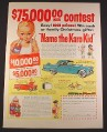 Magazine Ad for Karo Corn Syrup, Name The Karo Kid Contest, 1956, 10 1/2 by 13 7/8