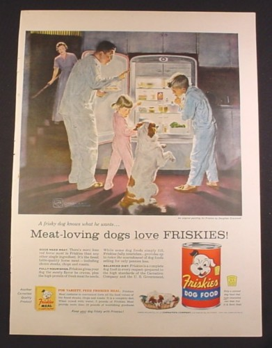 Magazine Ad for Friskies Dog Food, Dog Kids & Dad Sneaking a Snack From Fridge, 1956