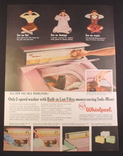 Magazine Ad for RCA Whirlpool Pink Imperial Clothes Washer, Suds-Miser, 1956, 10 1/2 by 13 7/8