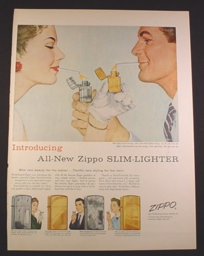 Magazine Ad for Zippo Slim Lighters, 6 Styles, Man & Woman Lighting, 1956, 10 1/2 by 13 7/8