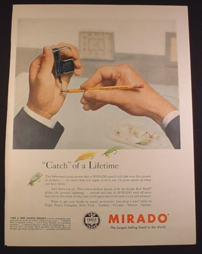 Magazine Ad for Mirado Pencils, Fishing Scale, 1956, 10 1/2 by 13 7/8