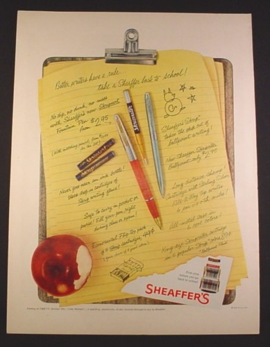 Magazine Ad for Sheaffer's Pens, Clipboard, 1958, 10 1/2 by 13 7/8