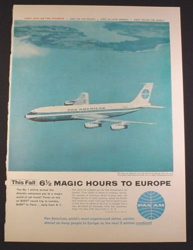 Magazine Ad for Pan American Pan Am Airline, Boeing 707 Clipper, N707PA, 1958, 10 1/2 by 13 7/8