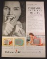 Magazine Ad for Hotpoint Portable Hi Vi TV Television, Pink Teal, 1958, 10 1/2 by 13 7/8
