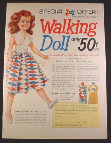 Magazine Ad for Joy Dish Soap, Walking Doll Offer, 1958, 10 1/2 by 13 7/8