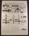 Magazine Ad for Mido With Powerwind Watches, 14 Models, 1958, 10 1/2 by 13 7/8