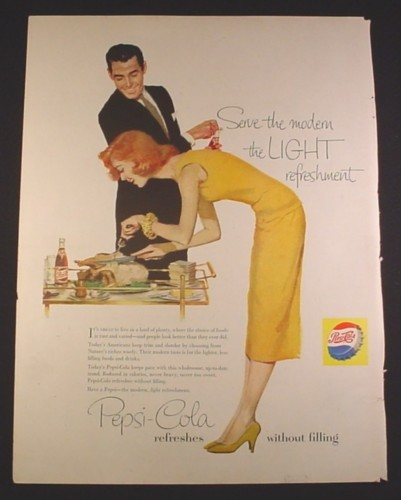 Magazine Ad for Pepsi Pepsi-Cola, Woman Carving A Turkey, 1958, 10 1/2 by 13 7/8