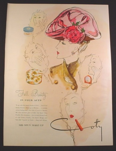 Magazine Ad for Coty Air Spun Make Up, Fall Beauty in Four Acts, 1945, 10 1/2 by 13 7/8