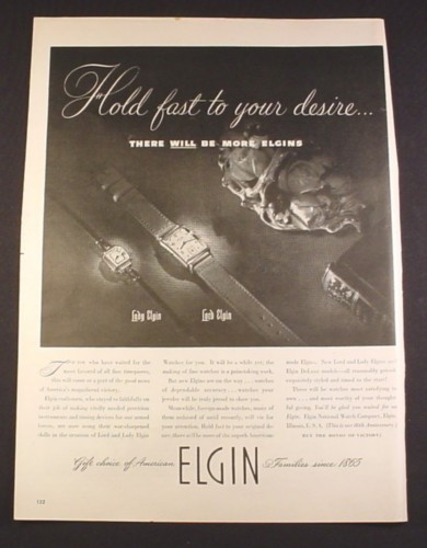 Magazine Ad for Elgin Watches, Lady & Lord, Post War, There Will Be More, 1945, 10 1/2 by 13 7/8