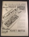Magazine Ad for Meadors Peanut Brittle, Made Sept Through May, 1945, 10 1/2 by 13 7/8