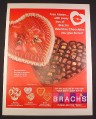 Magazine Ad for Brach's Candy & Chocolate, Heart Shaped Box, 1967, 10 1/2 by 13 3/4