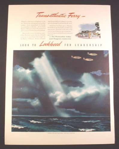 Magazine Ad for Lockheed Airplanes, Trans-Atlantic Ferry, 1941, 10 1/4 by 14