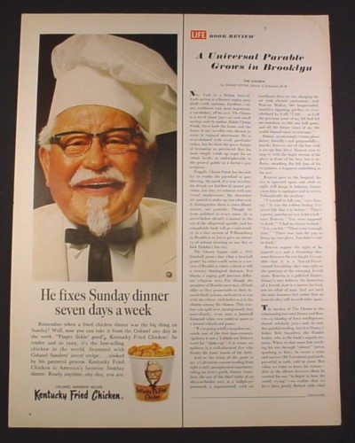 Magazine Ad for Kentucky Fried Chicken, Colonel Sanders in Chef Hat, 1967