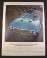 Magazine Ad for Pontiac Firebird 400, Blue, Front View, 1967, 10 1/2 by 13 5/8
