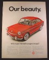 Magazine Ad for Volkswagen Fastback Sedan, Red, Front & Side View, 1967, 10 1/2 by 13 5/8