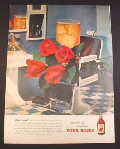 Magazine Ad for Four Roses Whisky, Glass & Roses in Old Barber's Chair, 1951, 10 3/8 by 13 7/8