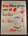 Magazine Ad for Thor Spinner Clothes Washer with Hydro Swirl Action, 1951, 10 3/8 by 13 7/8