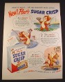 Magazine Ad for Post Sugar Crisp Cereal, Bears Fishing, 1951, 10 3/8 by 13 7/8