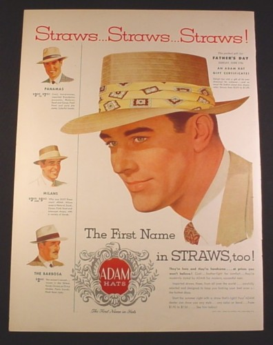 Magazine Ad for Adam Men's Hats, Straw Hats, Panama Milan Barbosa, 1951, 10 3/8 by 13 7/8