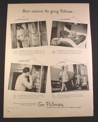 Magazine Ad for Pullman Train Cars, Four Seasons, 1951, 10 3/8 by 13 7/8