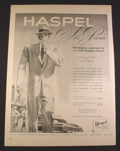 Magazine Ad for Haspel Sir Preme Men's Refreshable Clothes, Rayon & Nylon, 1951