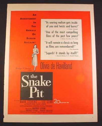 Magazine Ad for The Snake Pit Movie, Olivia de Havilland, 20th Century Fox, 1943, 10 3/8 by 13 7/8