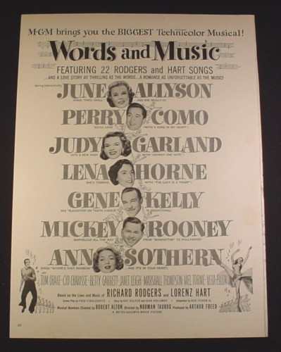 Magazine Ad for Words And Music Movie, Judy Garland, Gene Kelly, Mickey Rooney, MGM, 1943