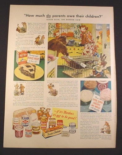 Magazine Ad for Borden's Milk, Elsie The Cow, How Much Do Parents Owe, 1948, 10 3/8 by 13 7/8
