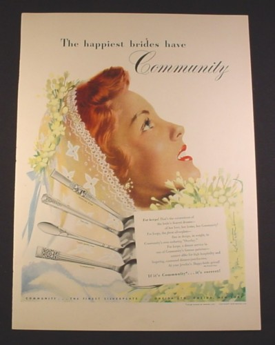 Magazine Ad for Community Silverware, Lady Hamilton, Morning Star, Milady, Coronation, 1948