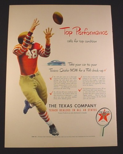 Magazine Ad for Texaco Dealers in all 48 States, Sign, Football Player, 1948, 10 3/8 by 13 7/8