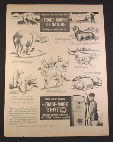 Magazine Ad for Ethyl Gasoline, Gas Pump, Trade Marks Of Nature, 1948, 10 3/8 by 13 7/8