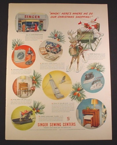 Magazine Ad for Singer Sewing Centers, Christmas Shopping, 1948, 10 3/8 by 13 7/8