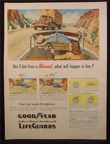 Magazine Ad for Goodyear Lifeguards Tires, Fast Freight Truck, 1945