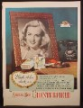 Magazine Ad for Chesterfield Cigarettes, Old Telephone & Girl In Picture on Desk, 1945