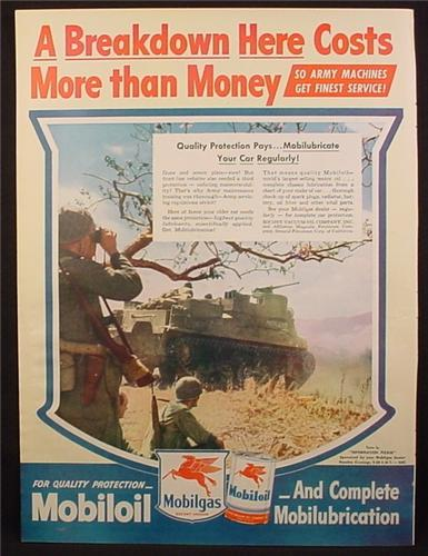 Magazine Ad for Mobiloil, Military, Post War, 4 Legged Red Pegasus Horse, 1945
