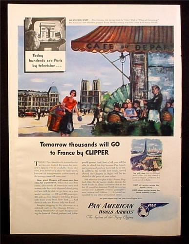 Magazine Ad for Pan American World Airways, Clipper To France, 1945