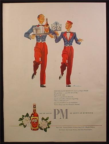 Magazine Ad for PM Blended Whiskey, Hotel Bellboys, Red Pants, Blue Jackets, 1945