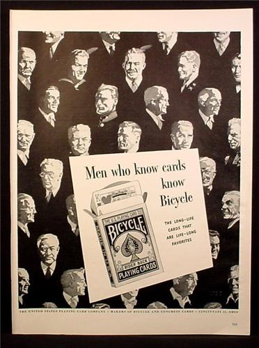 Magazine Ad for Bicycle Rider Back Playing Cards, U.S. Playing Card Company, 1945