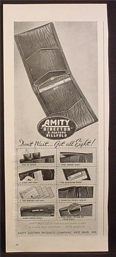 Magazine Amity Director 8 Feature Billfold, Wallet, 1945