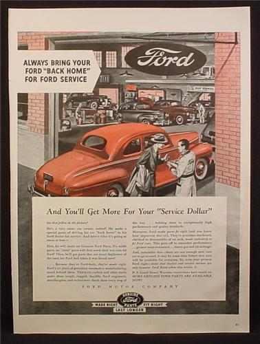 Magazine Ad for Ford Dealership Service, Bring Your Ford Back Home, 1945