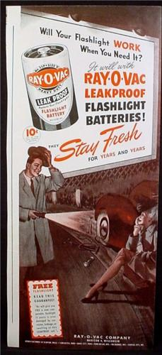 Magazine Ad for Ray-O-Vac Flashlight Batteries, Woman With Flat Tire, 1945