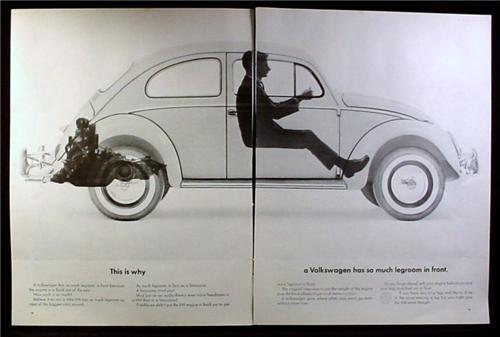 Magazine Ad for Volkswagen Beetle, See Through Car, Legroom In Front, 1964