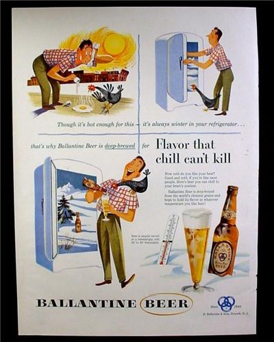 Magazine Ad for Ballantine Beer, Flavor That Chill Can't Kill, Bottle, 1953