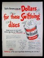 Magazine Ad for Swiftning Shortening, Discs on Top of Cans, Most Digestable Shortening, 1953