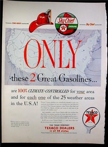 Magazine Ad for Texaco Sky Chief & Fire-Chief Gasoline, Logos, Map of US, 1953